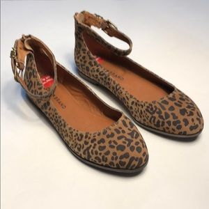 Lucky Brand Gyllian Ankle Strap Flats Leopard NWT